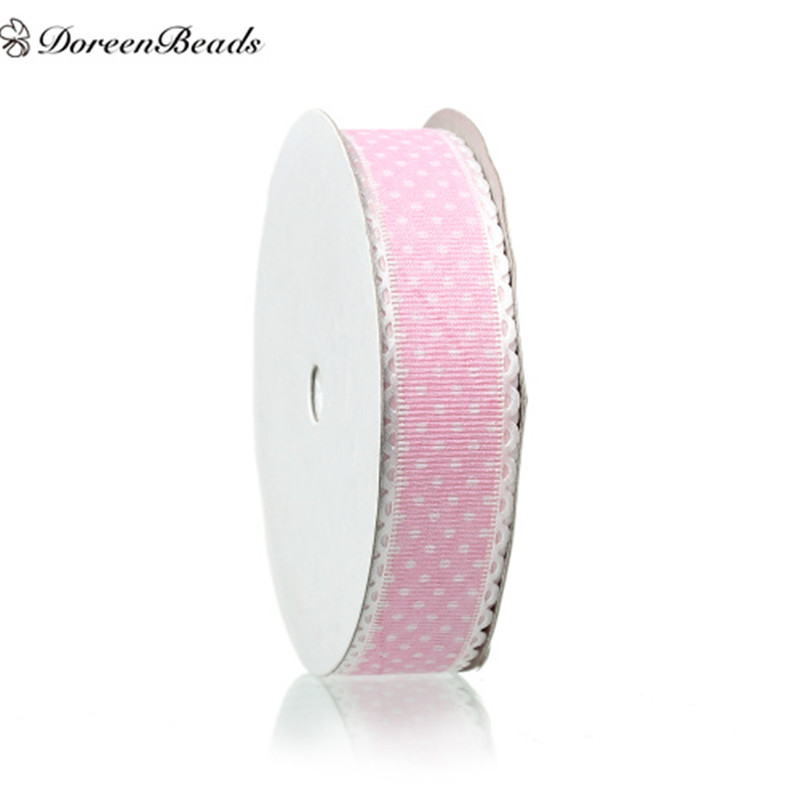 DoreenBeads Organza Easter Satin Ribbon Pink Dot Pattern For Gift Packing Decoration Bow & Garment Accessories About 18m 1PC