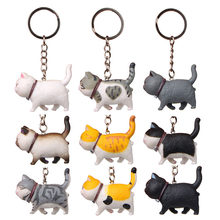 Koteta Tier Cartoon Katze PVC Action-figur Kinder Anime Modell Keychain Schlüssel Ring Schlüssel Halter Frauen Tasche Zubehör Mädchen geschenk spielzeug(China)