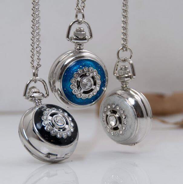 10pcs/lot Vintage Rhinestone Cat Eye Dark Blue White Black Stone Mirror Pocket Watch Necklace WE126, Dia: 27MM
