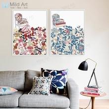 Modernas sillas abstractas de Color rosa con flores, póster e impresiones, arte de pared de salón Vintage, imagen de decoración del hogar, pintura en lienzo