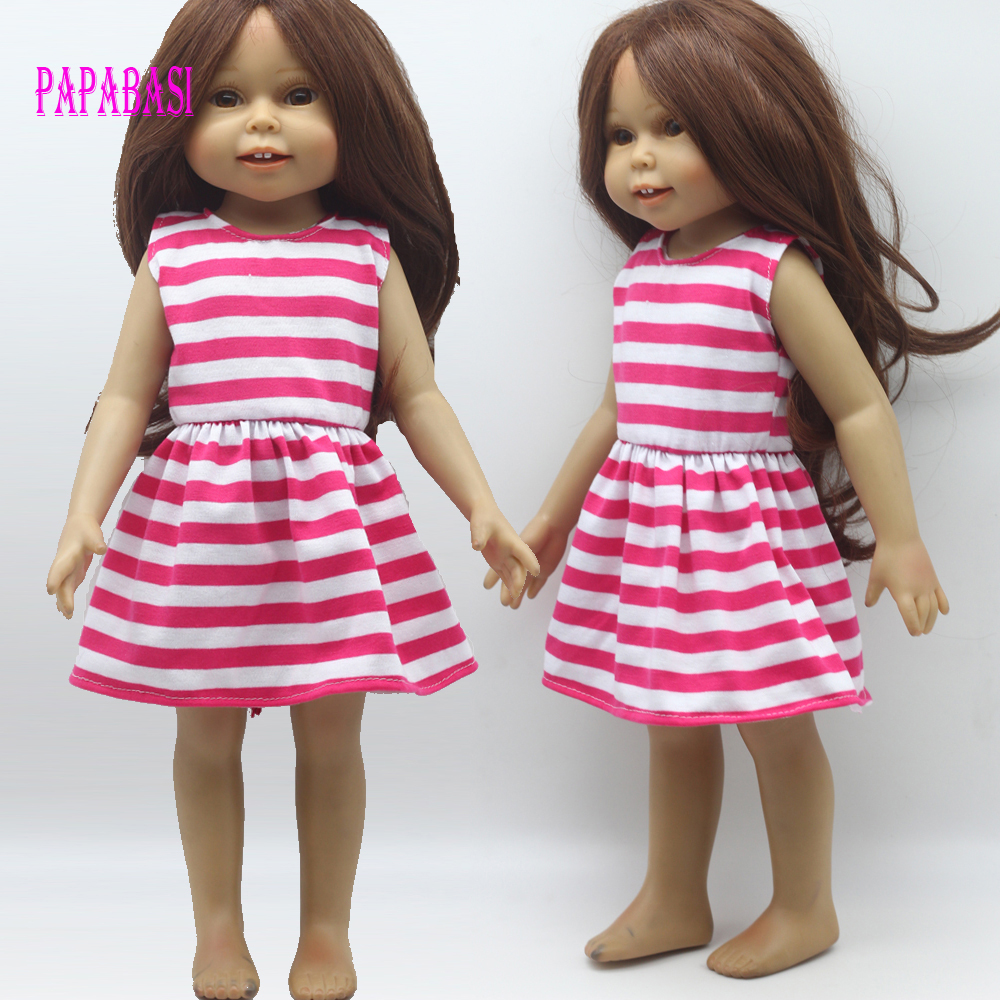 1PCS White Pink Doll fashion dress for 18 inch Dolls American Girl doll Clothes, new style 1pcs white pink doll fashion dress for 18 inch dolls american girl doll clothes new style