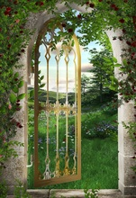 Laeacco Yard Arch Door Rattan Grassland Flowers Photographic Backdrops Customized Photography Background For Photo Studio