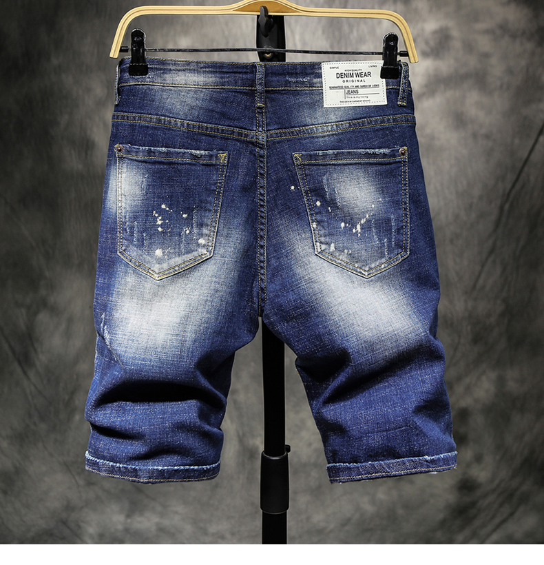 Mens Ripped Short Jeans Brand Clothing Summer Shorts Slim Leisure Breathable Tearing Painted Denim