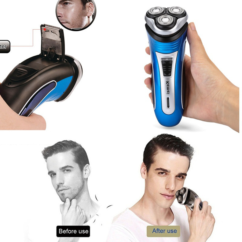 New Rechargeable Electric Razor 3D Triple Floating Blade Heads Shaving Razors Face Care Men Beard Trimmer Barber Machine