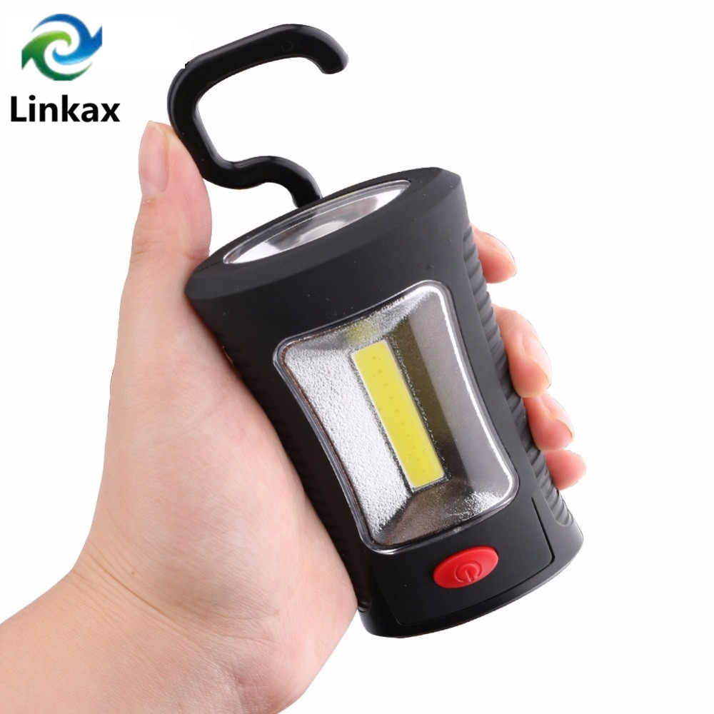 New Arrival 2-Mode COB LED Work Lamp Flashlight Magnetic Folding Hook Flash Light Torch Linternas Lanterna Powered By 3x AAA