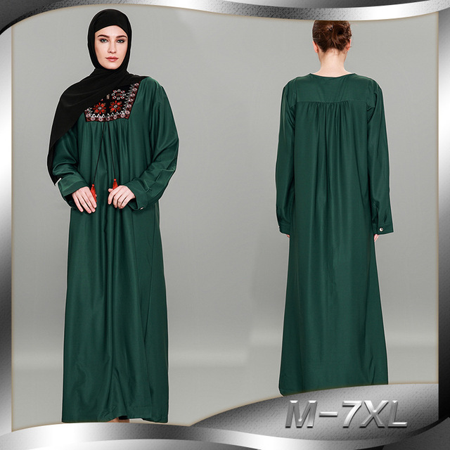 Newest Adult Women Green Print Embroidery Patchwork Islamic Maxi Dress  Turkey Clothing Arab Robes Plus Size M-7XL Muslim Abaya f3eb8cc65