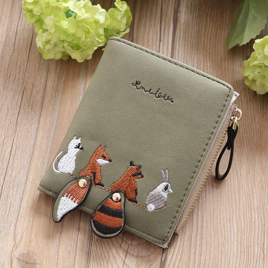 2019 Cartoon Women Wallet Lovely Animals Short Leather Wallet Female Small Coin Purse Hasp Zipper Purse Ladies Girl Card Holder