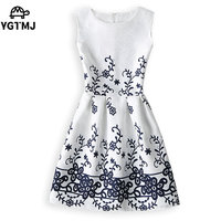 New 2017 Women Printed Flower Dress Sleeveless Knee Length One Piece Dress Casual Slim Bodycon Korea