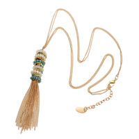 OSHUER High Quality 6 Colors Handmade Crystal Beads Long Necklace With Tassel Vintage Jewelry Chain