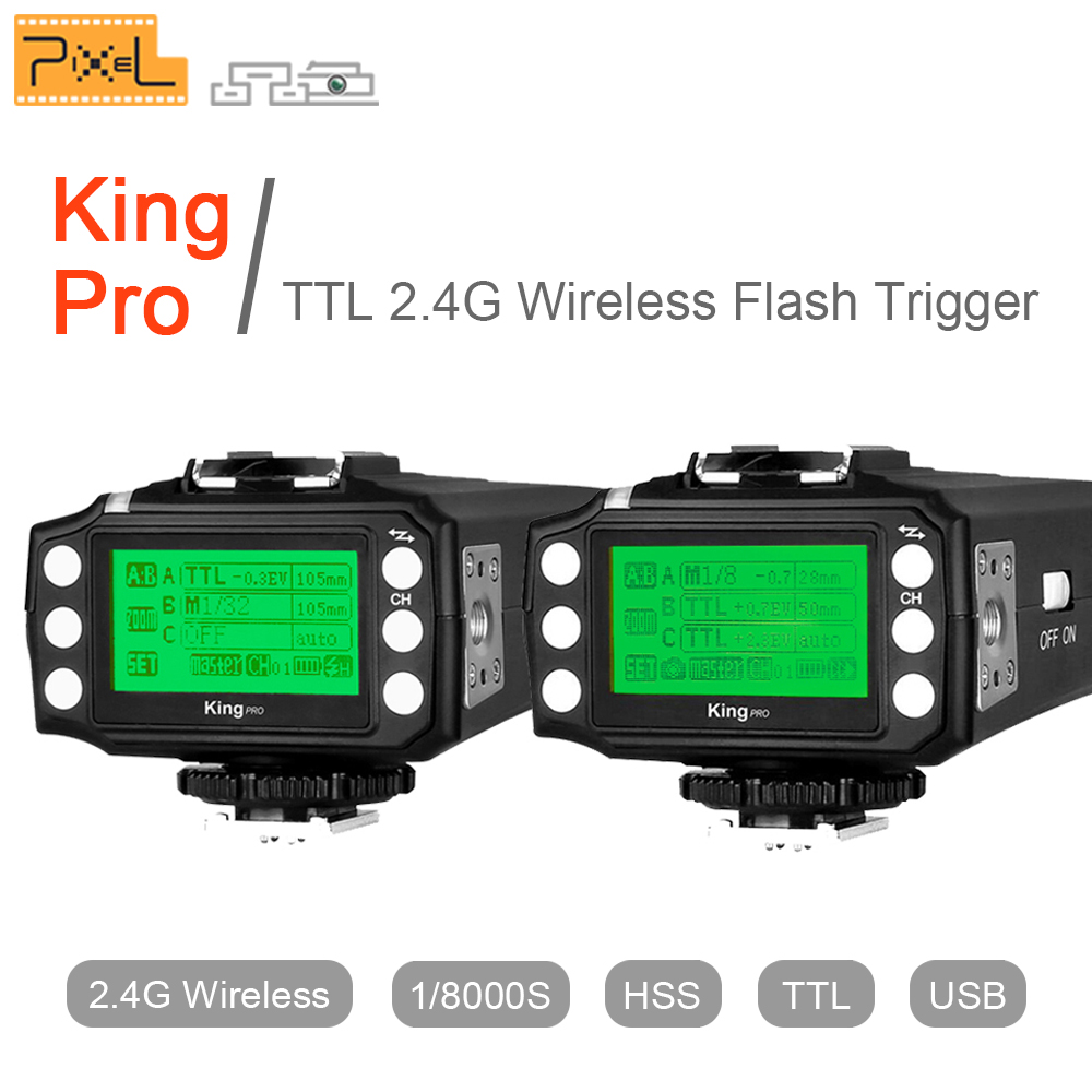 Pixel King pro kit TTL 2.4G Wireless Flash Trigger Transmitter & Receiver For Canon for Nikon Pixel M8 X900C Flash speedlite