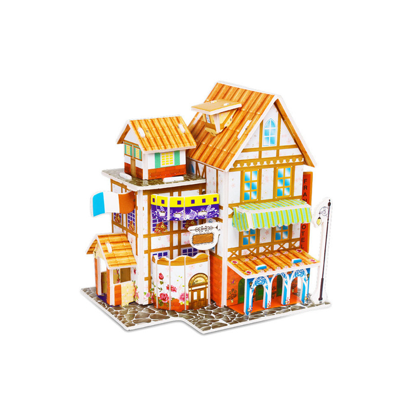 Бумага паззлами раннего обучения Строительная сборка детей украшения дома английские детские игры раннее образование игрушки