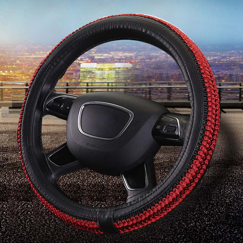 GLCC braid steering wheel cover 38cm High-quality microfiber fashion Pattern with Anti-slip Braiding Style Steering Covers