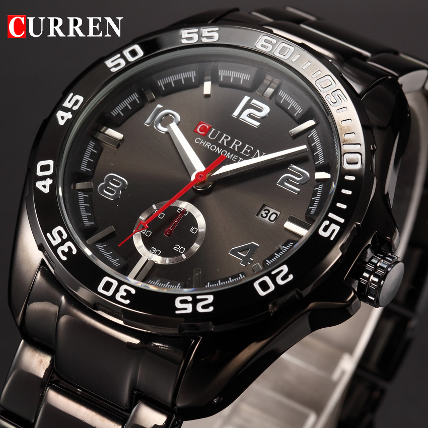 CURREN Men Watches Top Brand Luxury Stainless Steel Men's Quartz Watch Fashion Business Date Male Wristwatches Relogio Masculino chenxi brand luxury men watches automatic date stainless steel quartz watch business calendar male wristwatches reloj hombre