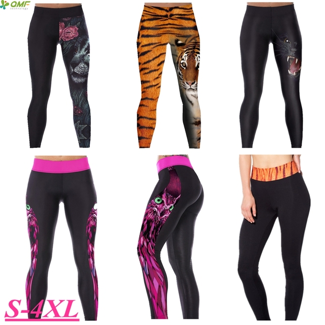 Winter Tiger Running Leggings Black Leopard Fitness Yoga Pants Red Rose  Lion Gym Sports Skinny Tights fa963bc9aef3