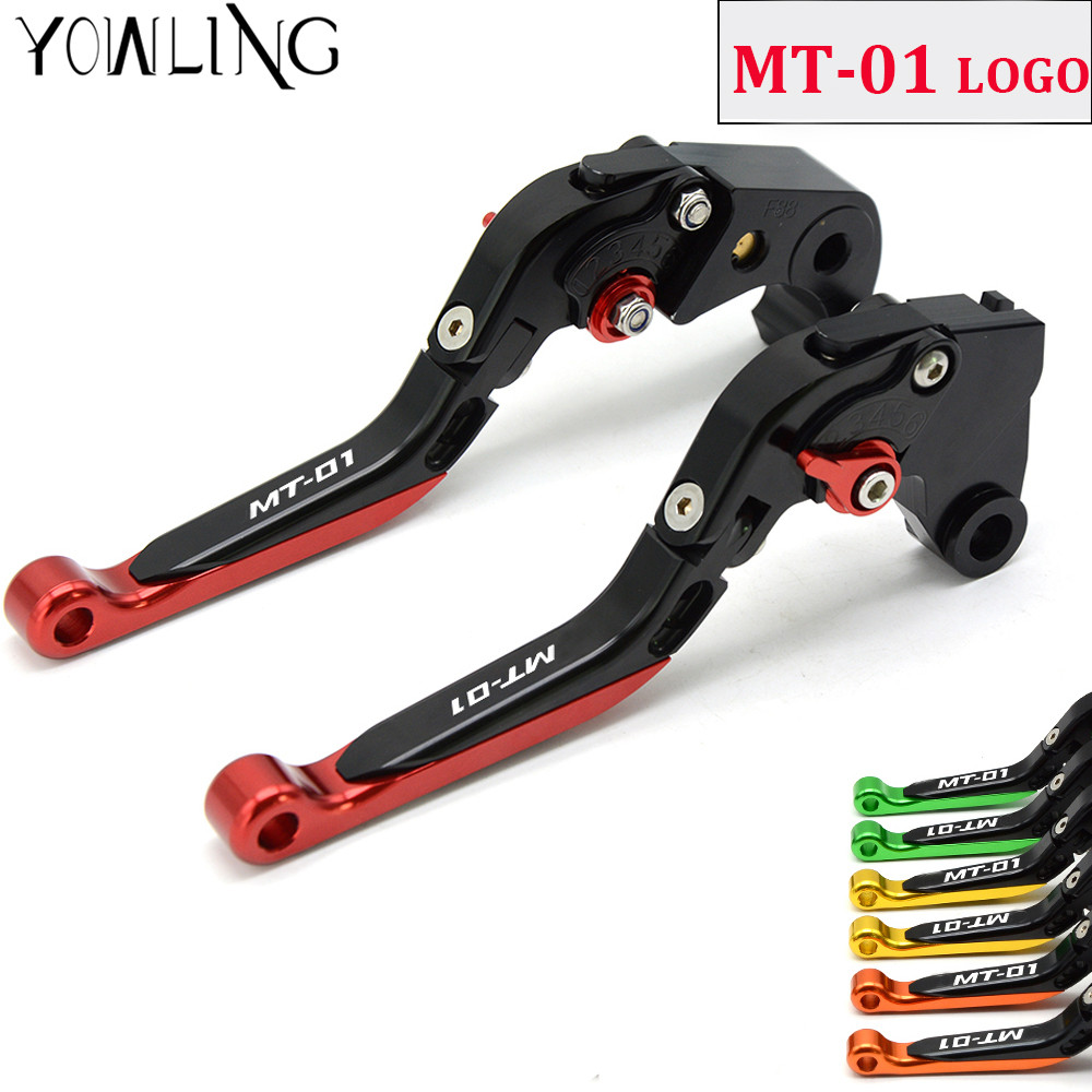 For YAMAHA MT-01 MT01 MT 01 2004-2009 Motorcycle Accessories CNC Folding Extendable Brake Clutch Levers with LOGO MT-01 free shipping motorcycle cnc modified brake clutch levers for yamaha mt 01 2004 2009 v max 1200 vmax1200 2009 2013
