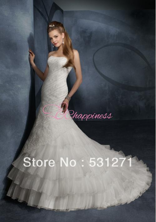 Luxurious Mermaid Strapless Floor Length Chapel Train Wedding Dresses White Indian Wedding Dress