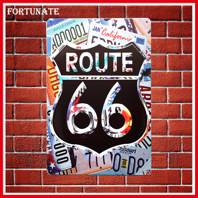 Hot Colourful Route 66 Vintage Metal Signs Home Decor Vintage Tin Signs Pub  Vintage Decorative Plates