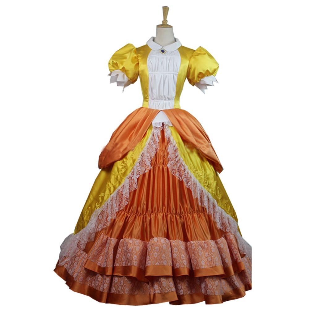 2017 Super Mario Bros Princess Peach Cosplay Dress Orange Costume