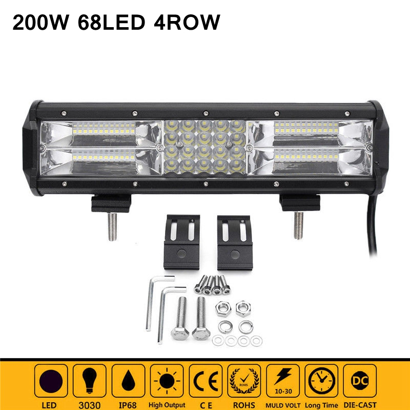 High Power 12inch 68LED 200W LED Work Light Bar Offroad 4x4 Driving Lamp Combo Beam for Jeep Truck Car-Styling Light Bar 4pcs lot 200w led work light 20pcs 10w high intensity cree leds 200w led work light led lamp