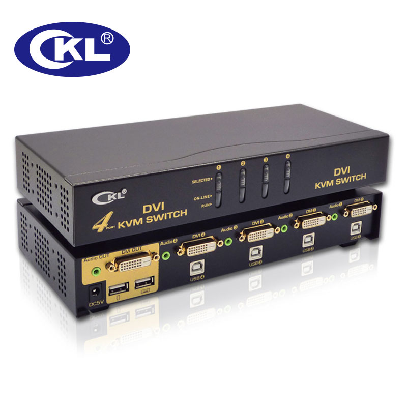 CKL USB DVI KVM Switch 4 Port Support Audio Auto Scan Keyboard Video Mouse Switcher 1080P CKL 94D