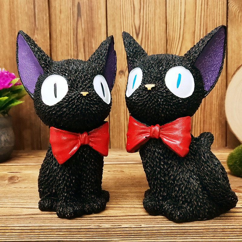 Black Resin Ghibli Miyazaki Kiki Anime Cat Alcancia Moneybox Cofre Gato Cat Piggy Bank Alcancia Huchas Money Safe Kids Gift