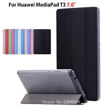 Ultra Slim Case para Huawei MediaPad T3 7.0 BG2-W09 Cubierta Funda Tablet PU Del Tirón Del Cuero Plegable Folio para Honor Juego Pad 2 7.0″