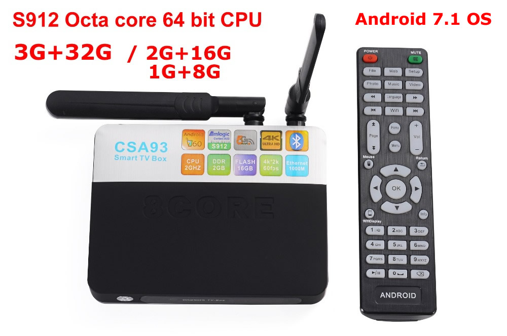 CSA93 Android 7.1 Smart TV Box Amlogic S912 Octa Core 3G+32G 2G+16G 1000M LAN BT4.0 Dual WIFI 2.4G/5.0G H.265 4K KODI 17.3 zidoo x6 pro hd 4k 2k h 265 smart android tv box rk3368 bluetooth xbmc kodi 2g 16g 3d octa core 1000m lan dual wifi