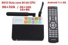 CSA93 Android 7.1 Smart TV Box Amlogic S912 Octa Core 3G + 32G 2G + 16G 1000 M LAN BT4.0 Double WIFI 2.4G/5.0G H.265 4 K KODI 17.1