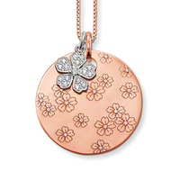 Free Shipping White Flower 18k Rose Gold Plating Disc Thomas Style SAAB Ts Combination Necklace New