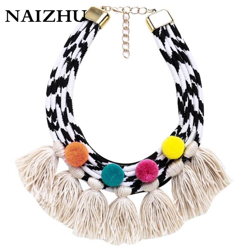 New Fashion statement Colorful pompom necklace for women white tassel necklace bib collar chokers