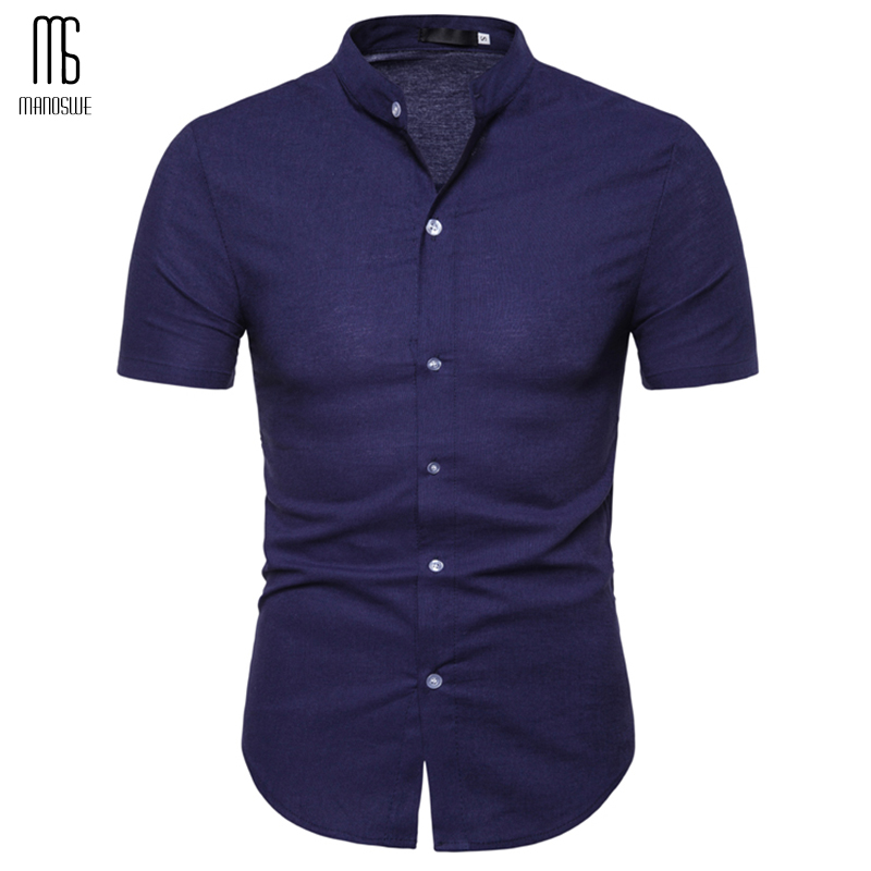 Manoswe Casual Stand Collar White Shirts Men 2019 Summer Short Sleeve Slim Shirt Bussiness Solid Color Male Shirt 2XL