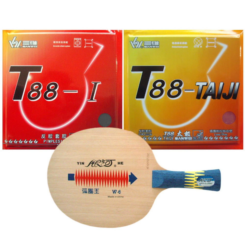 все цены на Pro Table Tennis Ping Pong Combo Paddle Racket Yinhe W-6 + Sanwei T88-TAIJI and T88-I Shakehand long handle FL онлайн