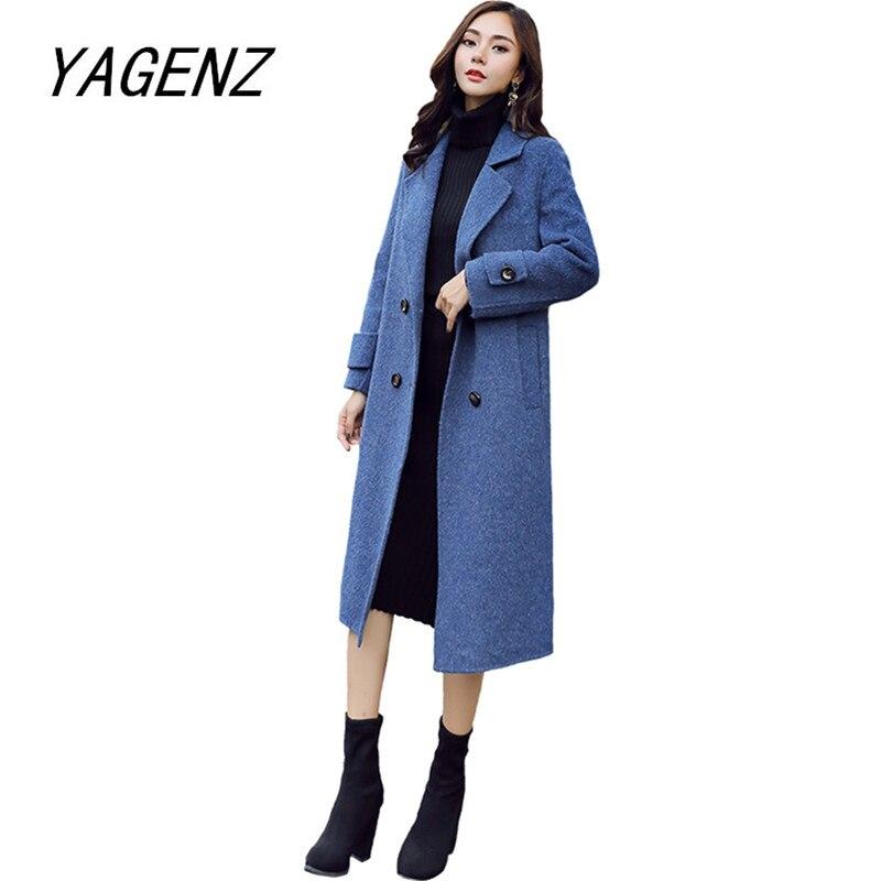 Korean Winter Women Wool Long jacket Fashion Slim Elegant Ladies Warm Overcoat Solid color Female High