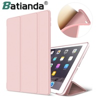Soft TPU Back Cover For IPad Air 2 Premium PU Leather Protection Smart Case For IPad