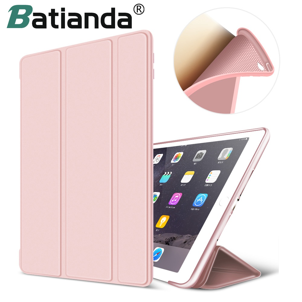 Soft TPU Back Cover For iPad Air 2 Premium PU Leather Protection Smart Case For iPad 6 Auto Wake/Sleep Function Rose Gold case for ipad mini 1 2 3 smart cover soft tpu silicone back pu leather flip stand auto sleep wake up capa for ipad mini case