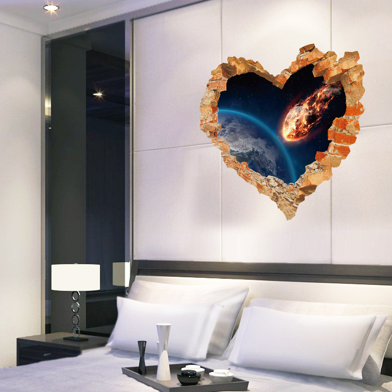 Love heart broken wall outer space wall stickers decals for Wall decor outer space