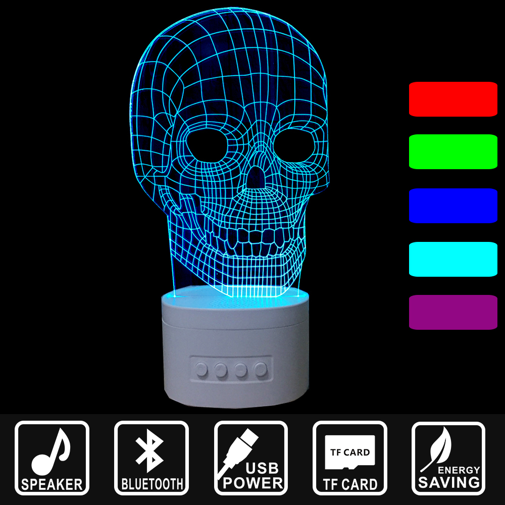 USB Lampara Holiday Gift Skull shape LED Night Light Bluetooth Speaker 3D Music Nightlight Asmosphere Lamp Home decor IY803102