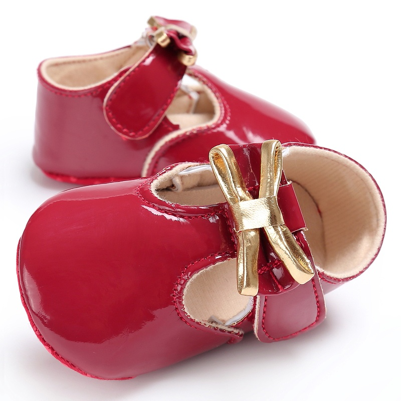 0-18M Baby Girls Spring PU Leather Newborn Princess Style Solid Color Sweet First Walkers Soft Soled Shoes