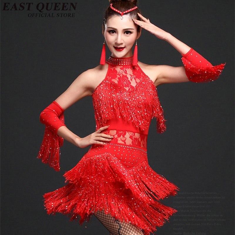 Robe de danse de salon robe de danse latine femmes/filles/dame adulte 2018 été Sexy nouvelle robe de Salsa de danse gland AA1205X