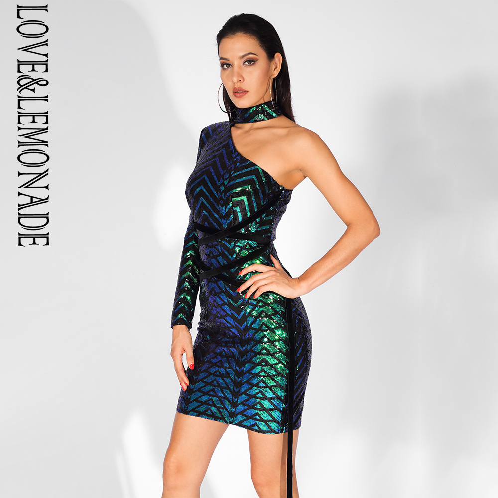 Love Lemonade Sexy One Sided Off The Shoulder Stand Up Collar Straps Geometric Graphic Sequins Dress
