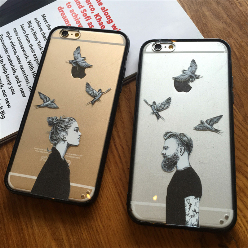 """5S high quality Romantic Couples Cute Cartoon characters TPU+PC Phone Case For iphone 5 5s 6 6S 4.7"""" 6s plus 5.5"""" Cases capa"""
