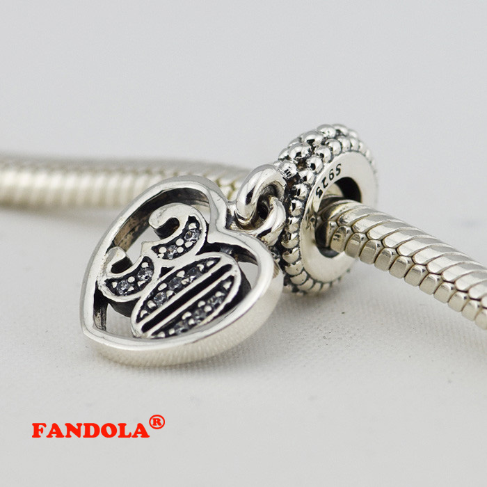 Fits Pandora Charms Bracelet 925 Sterling Silver Beads 30 Years of Love Dangle Charm for Women DIY Jewelry Making FG002