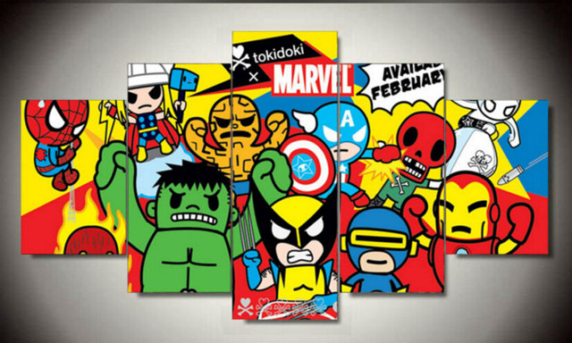 NO FRAME Framed Printed Tokidoki Marvel Picture Painting Wall Art Room  Decor Print Picture Canvas 5 Pcs/set Free Shipping