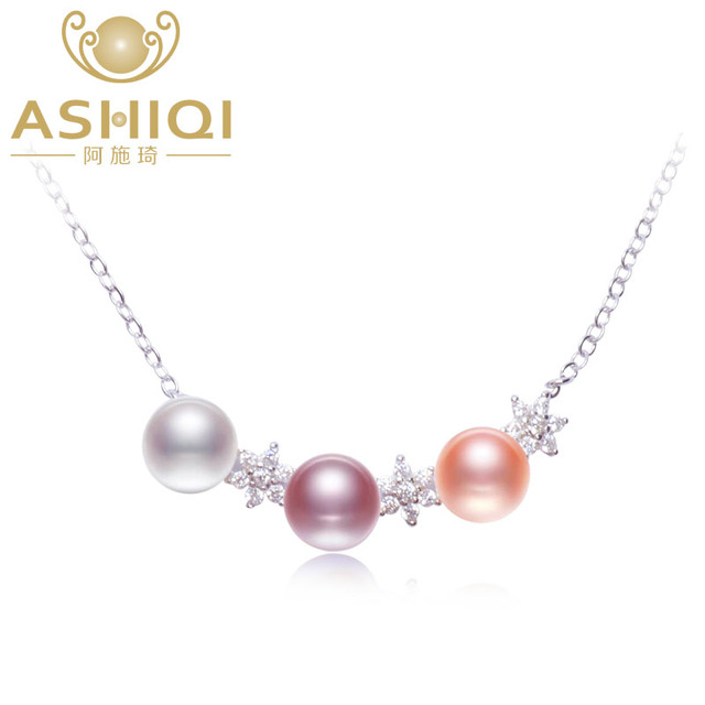 ASHIQI Real Natural freshwater pearl necklace women 925 sterling silver stars pendant necklace jewelry
