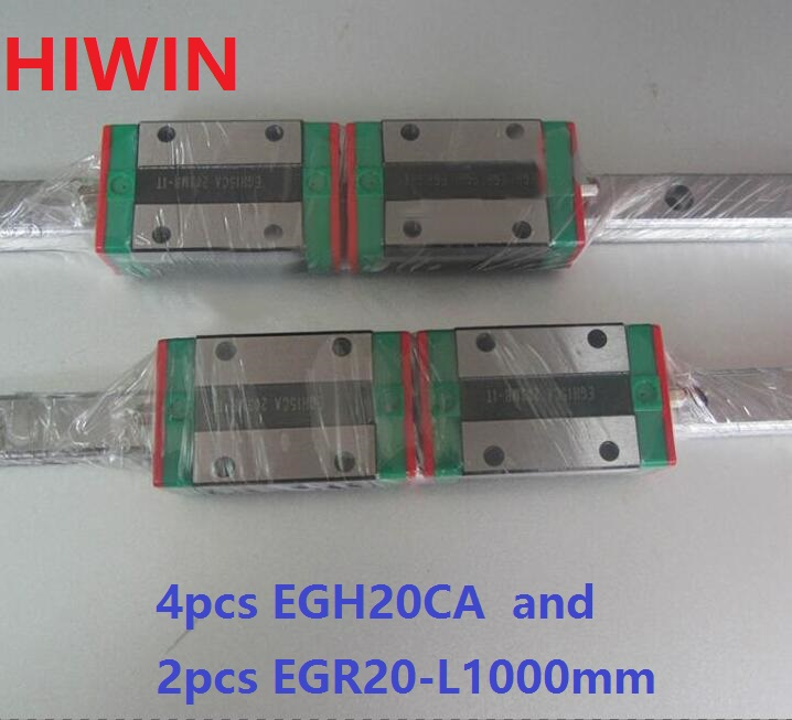 2pcs 100% original HIWIN linear guide EGR20 -L 1000mm + 4pcs EGH20CA linear block for CNC router2pcs 100% original HIWIN linear guide EGR20 -L 1000mm + 4pcs EGH20CA linear block for CNC router