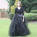 Graceful negro plisada vestidos de bola para para 2016 más el tamaño de longitud capas de tul faldas partido de tarde faldas con los marcos