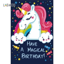 цена Laeacco Cartoon Unicorn Party Backdrop Baby Portrait Photography Backgrounds Customized Photographic Backdrops For Photo Studio