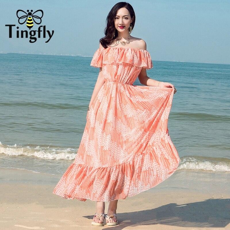 Tingfly Bobo длинное летнее платье с принтом женское сексуальное с открытыми плечами цветочное Макси платье 2018 оборками esbeach платье повседневное