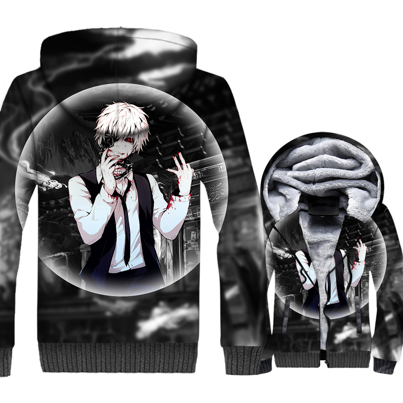 2019 winter thicken wool liner jackets 3D Print loose fit jacket regular length sweatshirts coats Anime Tokyo Ghoul hoodies men in Hoodies amp Sweatshirts from Men 39 s Clothing