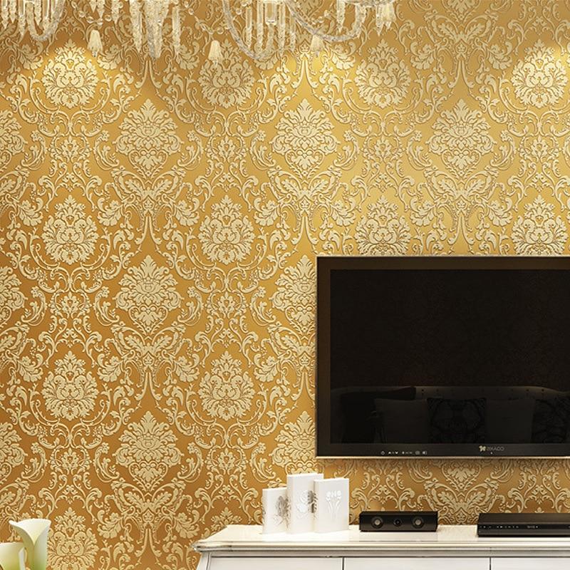 Papier Peint intissé européen damas salon salle à manger fond de chambre Papier Peint Papier Peint Mural 3d